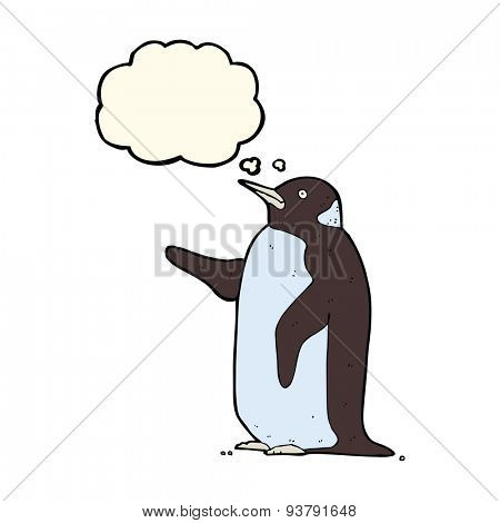 cartoon penguin with thought bubble