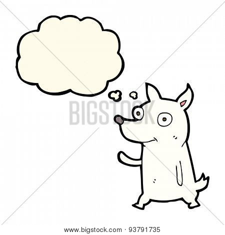 cartoon little dog waving with thought bubble