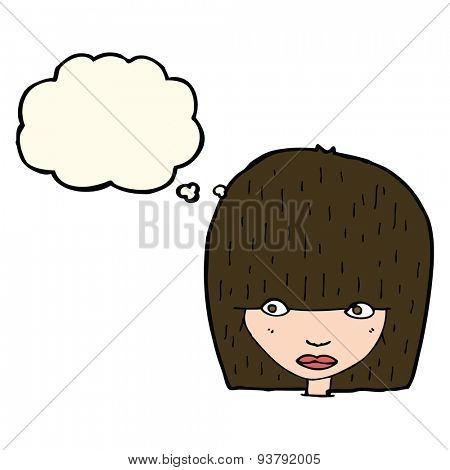 cartoon staring woman with thought bubble