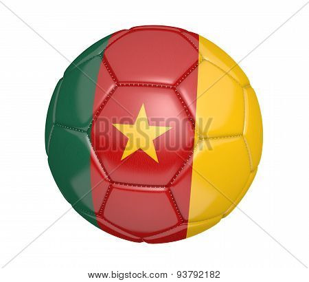 Soccer ball, or football, with the country flag of Cameroon