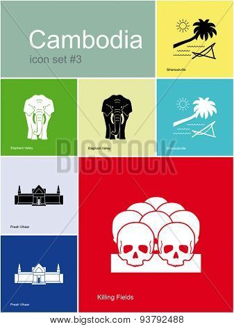 Landmarks of Cambodia. Set of color icons in Metro style. Raster illustration.