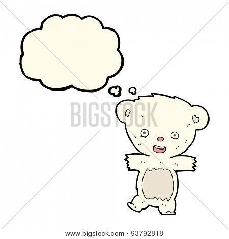 cartoon teddy polar bear cub with thought bubble