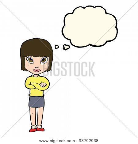 cartoon woman with crossed arms with thought bubble
