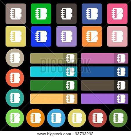 Notepad, Calendar Icon Sign. Set From Twenty Seven Multicolored Flat Buttons. Vector