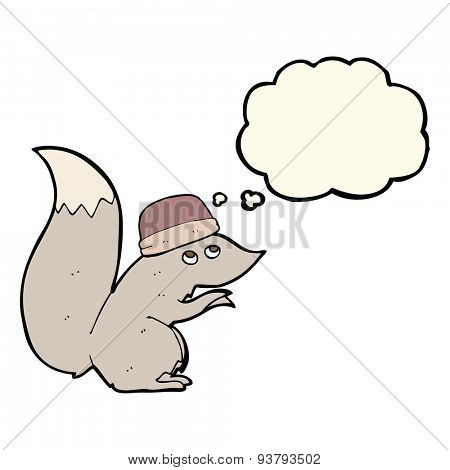 cartoon squirrel wearing hat with thought bubble