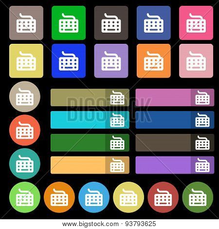 Keyboard Icon Sign. Set From Twenty Seven Multicolored Flat Buttons. Vector