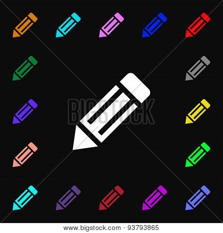 Pencil Icon Sign. Lots Of Colorful Symbols For Your Design. Vector