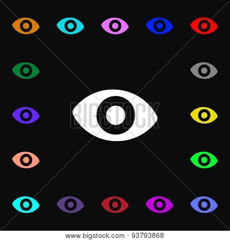 Sixth Sense, The Eye Icon Sign. Lots Of Colorful Symbols For Your Design. Vector