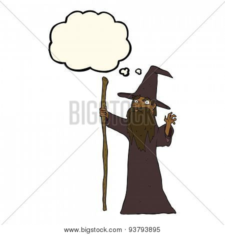 cartoon spooky wizard with thought bubble