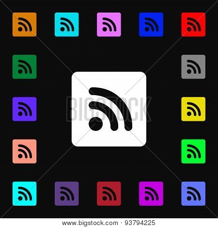Rss Feed  Icon Sign. Lots Of Colorful Symbols For Your Design. Vector