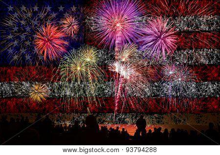 Firework Celebration With American Flag Background.
