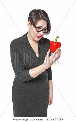 Plus Size Woman Sadly Looking On Red Pepper Isolated