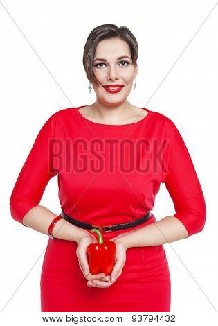 Beautiful Plus Size Woman With Red Pepper Isolated