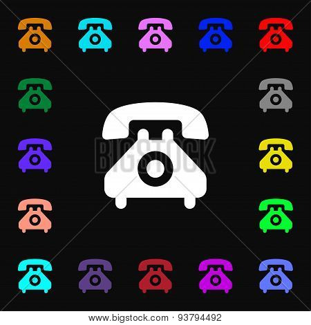 Retro Telephone Handset  Icon Sign. Lots Of Colorful Symbols For Your Design. Vector