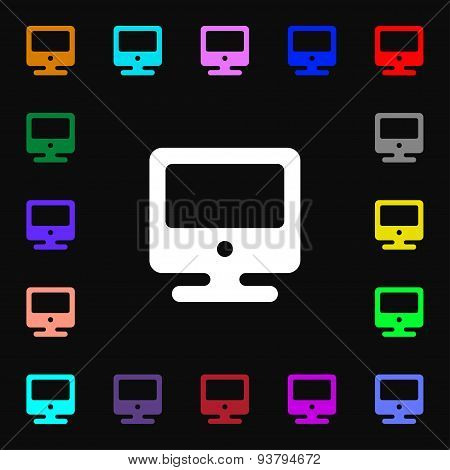 Monitor Icon Sign. Lots Of Colorful Symbols For Your Design. Vector