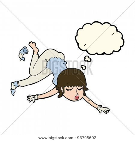 cartoon woman floating with thought bubble