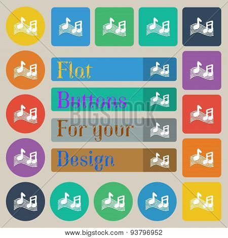 Musical Note, Music, Ringtone Icon Sign. Set Of Twenty Colored Flat, Round, Square And Rectangular B