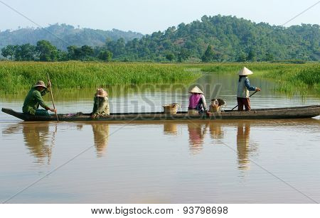 Asian Farmer, Row Boat, Family, Go To Work