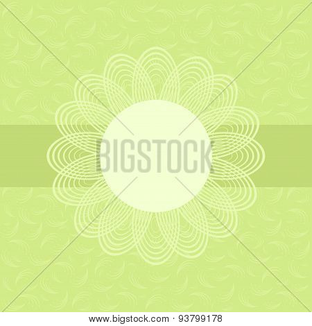 Green Card With Floral Pattern.