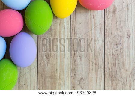 Colorful Eggs On Wood