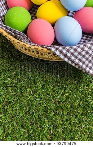Colorful Eggs In A Basket
