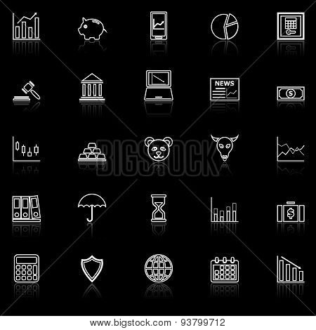 Stock Market Line Icons With Reflect On Black