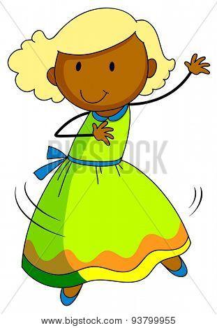Cute girl in dress dancing alone