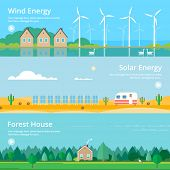 pic of wind energy  - Colorful vector flat banner set - JPG