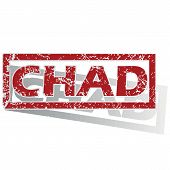 stock photo of chad  - Outlined red stamp with country name Chad - JPG