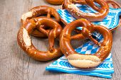 image of pretzels  - Group of Bavarian pretzels on napkin - JPG