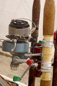foto of fishing rod  - Fishing rods old objects exhibit sport fishing - JPG