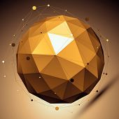 image of asymmetric  - Gold spatial vector digital lattice backdrop - JPG