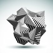 picture of asymmetric  - Decorative complicated unusual eps8 figure constructed from triangles with parallel black lines - JPG