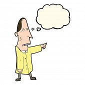 picture of ugly  - cartoon ugly man pointing with thought bubble - JPG