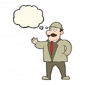 pic of bowler hat  - cartoon sensible business man in bowler hat with thought bubble - JPG