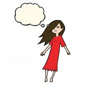 image of nightie  - cartoon ghost like girl with thought bubble - JPG