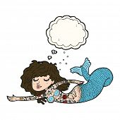 stock photo of mermaid  - cartoon mermaid covered in tattoos with thought bubble - JPG