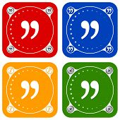 picture of quotation mark  - Set of four colored flat simple frames and quotation mark - JPG