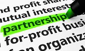 image of partnership  - Partnership concept with a 3d render of business related words on a paper document and partnership text highlighted with a green marker - JPG
