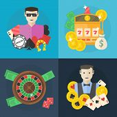 image of poker machine  - Casino or poker flat illustration  - JPG