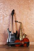 foto of saxophones  - Electric guitar - JPG
