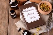 foto of roughage  - Medicinal plants book with dried herbs and bottles on table close up - JPG