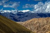 picture of jammu kashmir  - aerial view of snow peaks Leh ladakh landscape light and shadow Jammu and Kashmir India - JPG