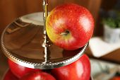 foto of serving tray  - Tasty ripe apples on serving tray close up - JPG