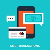 stock photo of sms  - Abstract vector illustration of sms transactions flat design concept - JPG