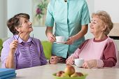 foto of ward  - Young nurse serving hot tea to her two senior wards - JPG