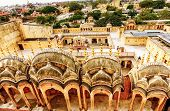 stock photo of harem  - The famous Hawa Mahal or Palace of the Winds - JPG
