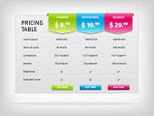 stock photo of comparison  - Pricing table template for business plan - JPG
