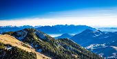 stock photo of bavarian alps  - View from Wendelstein into the Bavarian and Austrian Alps - JPG