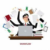 stock photo of tasks  - Vector illustration on white background featuring a successful and busy multi - JPG